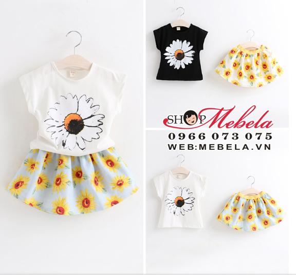 V298 - Bộ váy hoa hướng dương 2-5 tuổi