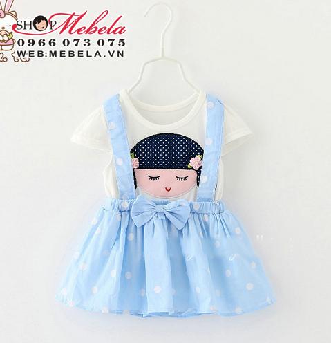 V291 - Váy yếm liền hình bé gái ngủ 7-14 kg
