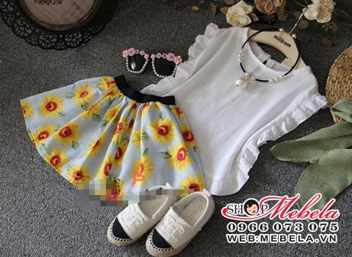 V324 Váy gồm áo kèm chân váy hoa hướng dương 2 - 7 tuổi