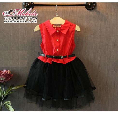 V348 Váy đỏ đen kèm thắt lưng cho bé gái 2 - 5 tuổi