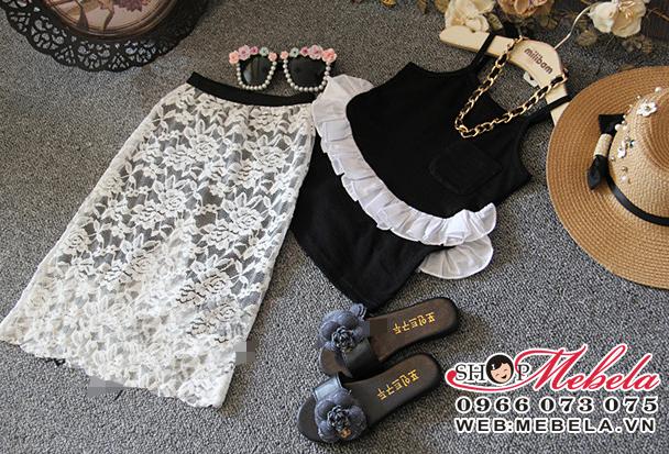V383-Váy rời chân váy hoa ren trắng kèm áo hai dây màu đen cho bé 2,5-8t