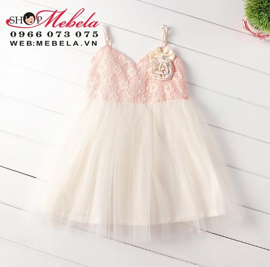 V386-Váy ren 2 dây chân voan xinh mát cho bé 2,5-6t