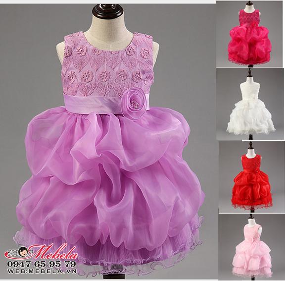 V387-Váy dự tiệc chân xòe bồng cho bé 2-6t