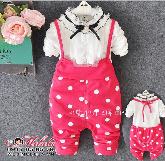BG533 - Bộ quần yếm bé gái kèm áo cổ nơ hạt trai bé 1-3t (10-14kg)
