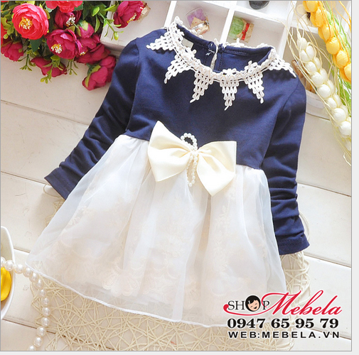 V635 - Váy thun cổ ren chân voan 2 lớp nơ trắng cho bé 6,8,10,12kg (4-24 tháng)