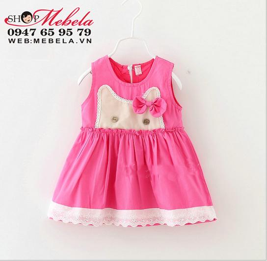 V613 - Váy kaki thô sát nách mèo đeo nơ cho bé 8-14kg (8th - 3tuổi)