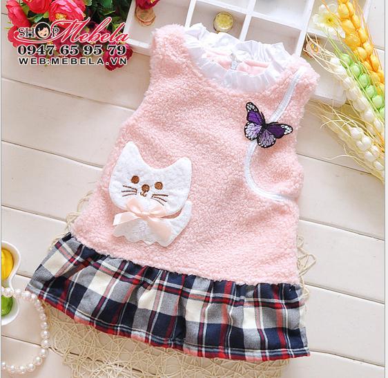 V650 - Váy lông cừu hình mèo xinh cho bé 10,12,14,16kg (1-4t)