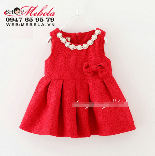 V662 - Váy ren 2 lớp cổ đính hoa trai nơ eo cho bé 12-17kg(2-4t)