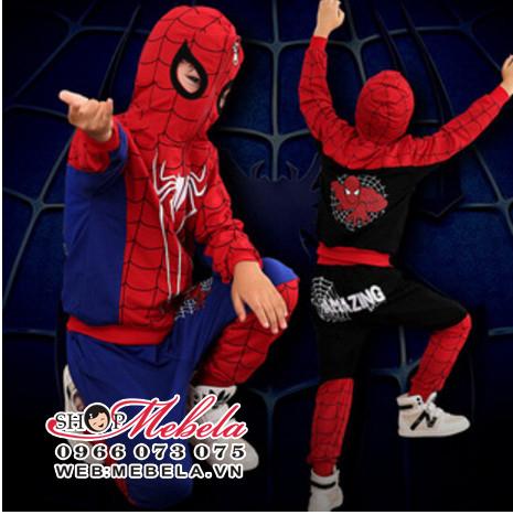 BT575 - Bộ quần áo người nhện màu đen nỉ da cá mỏng cho bé 18-32kg (4-9t)