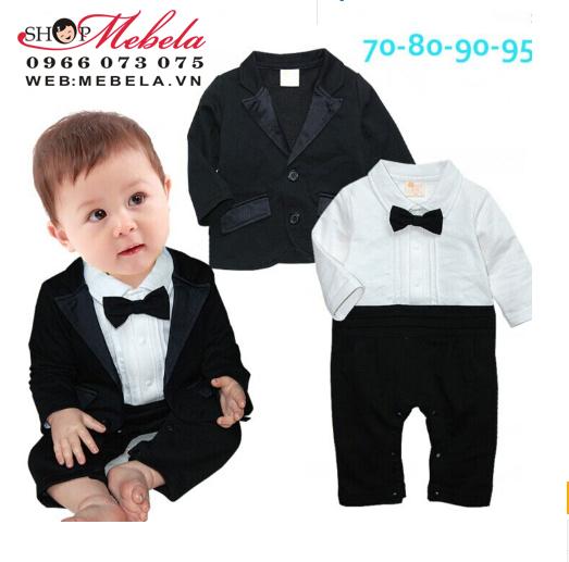 BT565 Bộ vest chú rể gồm vest + body cho bé 4 đến 13kg