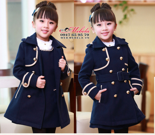 KG237 - Áo khoác dạ phong cách hàn quốc cho bé gái