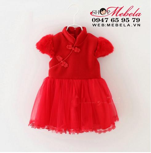v689 Váy dạ đỏ cổ tàu tay hến cho bé