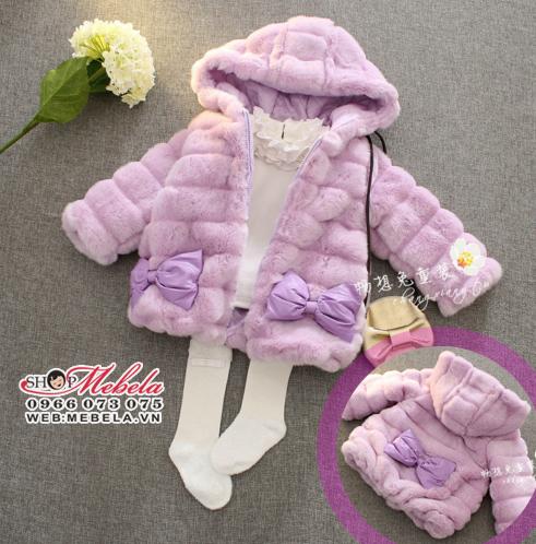 KG240 Áo khoác lông tím liền mũ gắn nơ sang chảnh cho bé gái