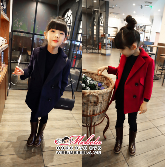 KG243 Áo vest dạ đỏ cho bé gái