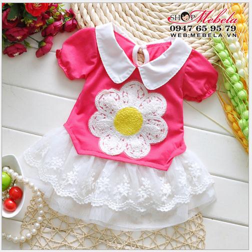 V138 Váy hồng chân ren trắng hoa bụng cho bé 1-3 tuổi
