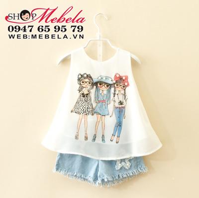 BG135 Bộ áo voan 3 cô gái + quần sooc giả bò cho bé gái 2 - 7 tuổi