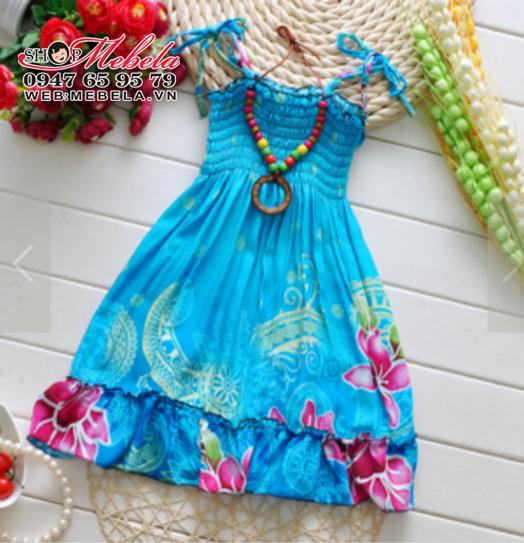 V448 Váy 2 dây chun ngực hoa xanh kèm vòng cổ cho bé 2-5 tuổi