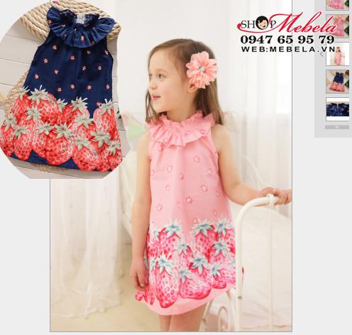 V433 Váy đầm cổ bèo hình dâu tây cho bé gái 2 - 7 tuổi