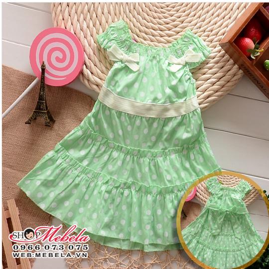 V474 Váy đầm chấm bi xanh ngọc 2 nơ cho bé gái 2 - 7 tuổi