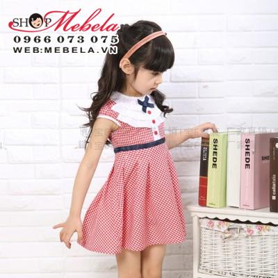 V475 Váy đầm caro đỏ bèo trắng nơ xanh cho bé gái 2 - 7 tuổi