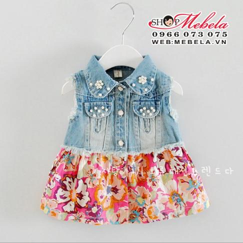 V470 Váy bò chân hoa cho bé gái 7 đến 13kg