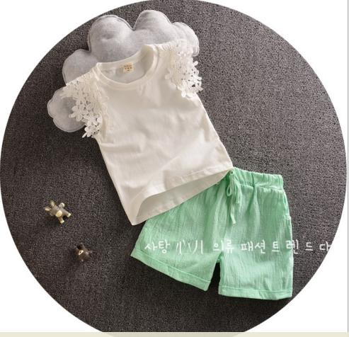 BG137 - Bộ bé gái sát nách tay ren kèm quần xanh lá cho bé 2t - 4t