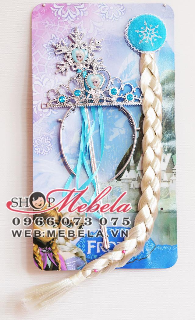 PK06 Bộ vương miện+đũa thần+bím tóc elsa cho công chúa nhỏ