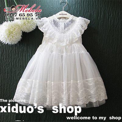 V500 - Váy công chúa ren trắng cổ bèo cho bé 2,5t - 7t (13-26kg)