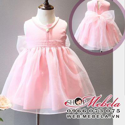 V498 - Váy công chúa hồng buộc nơ eo cho bé 2,5t - 6t (13kg - 24kg) không kèm vòng