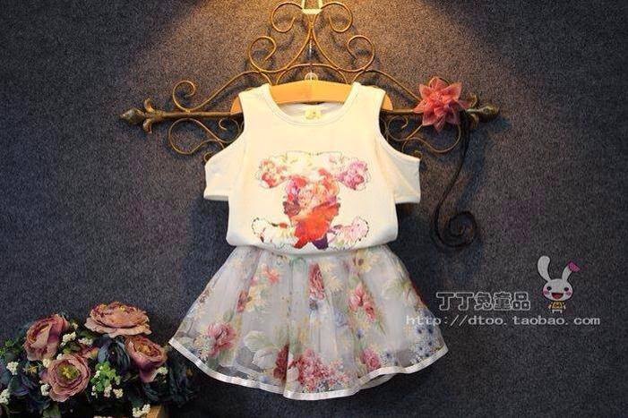 V335 - Váy bé gái áo hở vai kèm chân váy voan hoa xinh cho bé 2,5t - 7t (13-26kg)