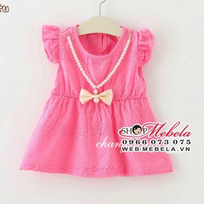V2004 - Váy hồng tay cánh tiên kèm vòng hình nơ cho bé 8kg - 12kg