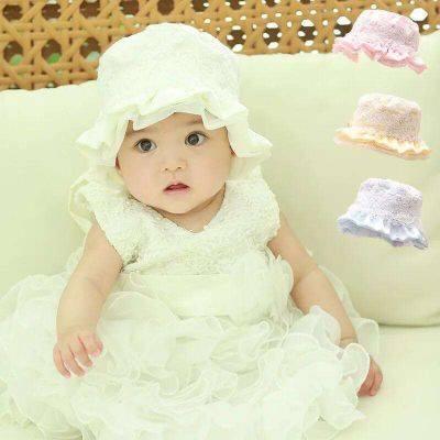 M34 - Mũ thêu hoa đính ngọc trai cho bé dưới 1 tuổi