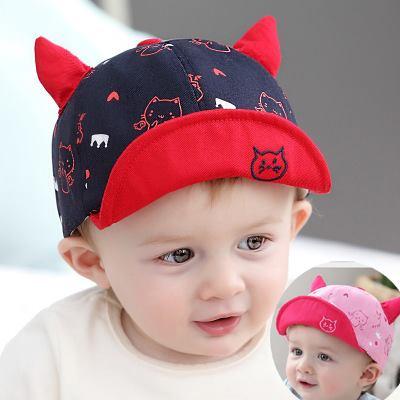 M42 - Mũ sừng in mèo cho bé 1 tuổi trở xuống