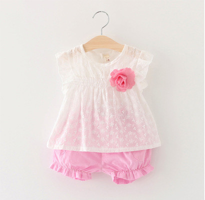 BG107 - Bộ bé gái đính hoa ngực màu hồng cho bé 1t - 3,5t (8-16kg)