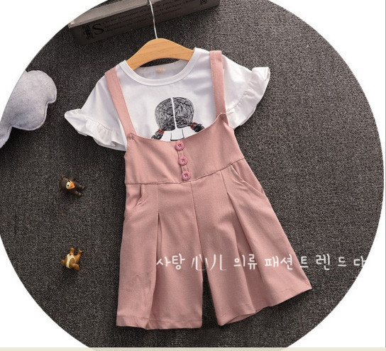 BG149 Bộ áo trắng hình bé tết tóc kèm quần yếm hồng ống rộng cho bé 2,5t - 6t (13kg - 22g)