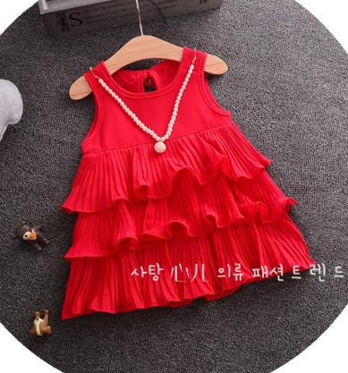 V2061 Váy sát nách đỏ 3 tầng kèm vòng cổ cho bé 3t - 5t (14kg - 20kg)