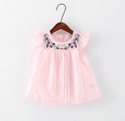 V2068 Áo váy hồng tay cánh tiên thêu ngực cho bé 2t - 5t (12kg - 20kg)