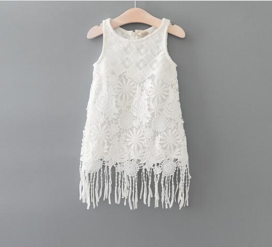 V2070 Váy suông sát nách ren trắng tua rua cho bé 2,5t - 6t (13kg - 22kg)