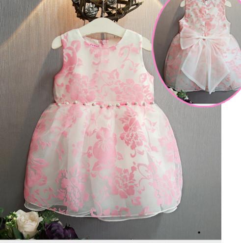 V2066 Váy voan hoa hồng đính hạt eo, nơ lưng cho bé 2t - 6t (12kg - 23kg)
