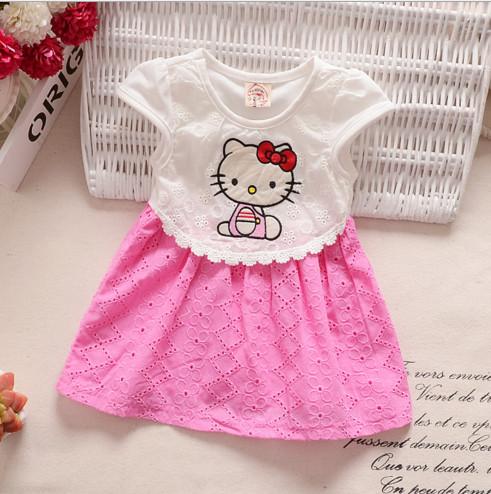 V2078 Váy liền kitty trắng hồng xinh xắn cho bé 2th - 1t (4kg - 11kg)