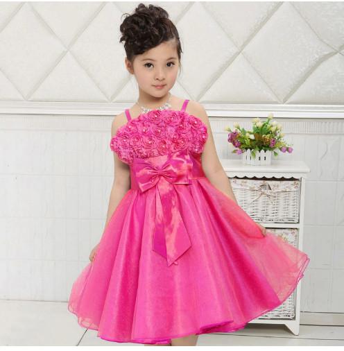 V101 Váy dự tiệc 2 dây hoa hồng nơ bụng cho bé 4t - 8t (17kg - 27kg )