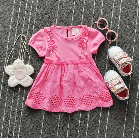 V2086 Váy thun hồng cộc tay 2 nơ xinh 2 bên cho bé 6th - 24th (7kg - 12kg)