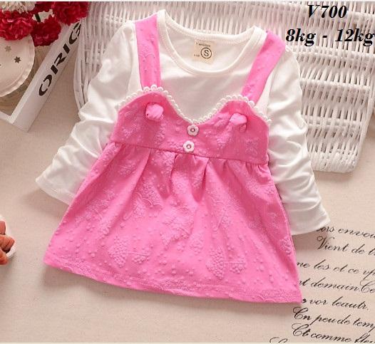 V700 -  Váy thu dài tay giả yếm trắng hồng cho bé 8kg - 12kg