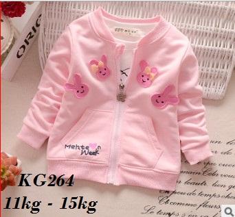 KG264 - Áo khoác nỉ hồng 4 thỏ xinh cho bé 11kg - 15kg