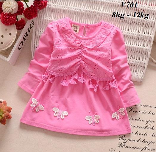 V701 - Váy hồng dài tay 4 bướm cho bé 8kg - 12kg