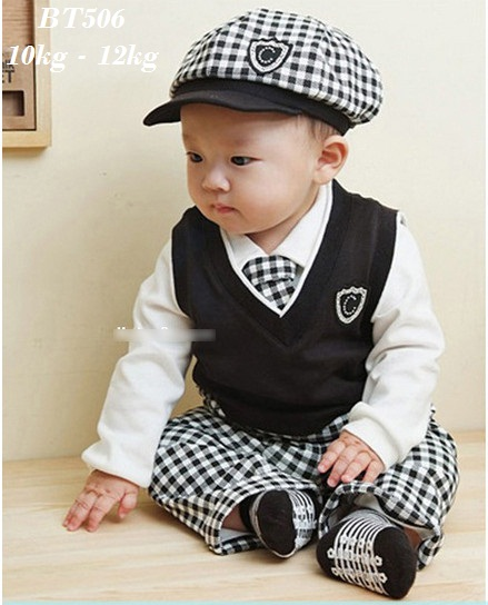 BT506 - Bộ set 5 gồm áo gile, áo thun dài tay, quần thun kẻ, mũ, cà vat cho bé 10kg - 12kg