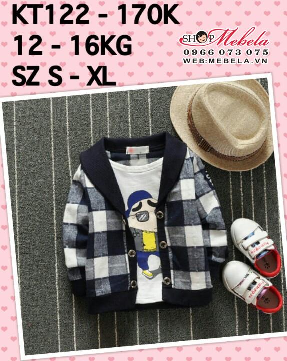 KT122 - Áo khoác kẻ xanh đen Shin Bút Chì giả 2 áo cho bé 12kg - 16kg (2t - 3,5t)