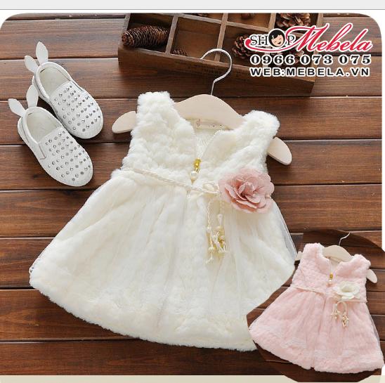 KG274 Áo khóac gile lông trắng dáng váy cho bé gái 8-14kg,7th-3t, sz 5-13