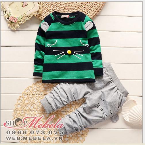 BT581 Bộ dài tay kẻ xanh lá cây cho bé 11-17kg, 18th-4t, 6-12