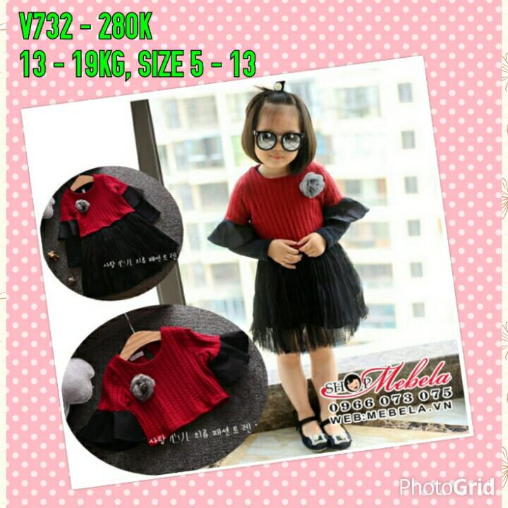 V732 Bộ váy dài  tay 2 chi tiết đỏ đen cho bé gái 13-19kg, 2,5-5t, 5-13